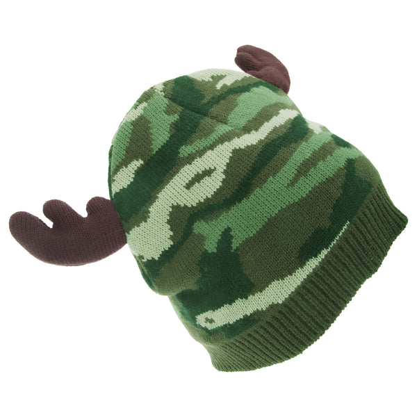Green Camo - Front - FLOSO Mens Camo Pattern Winter Beanie Hat With Moose Antlers