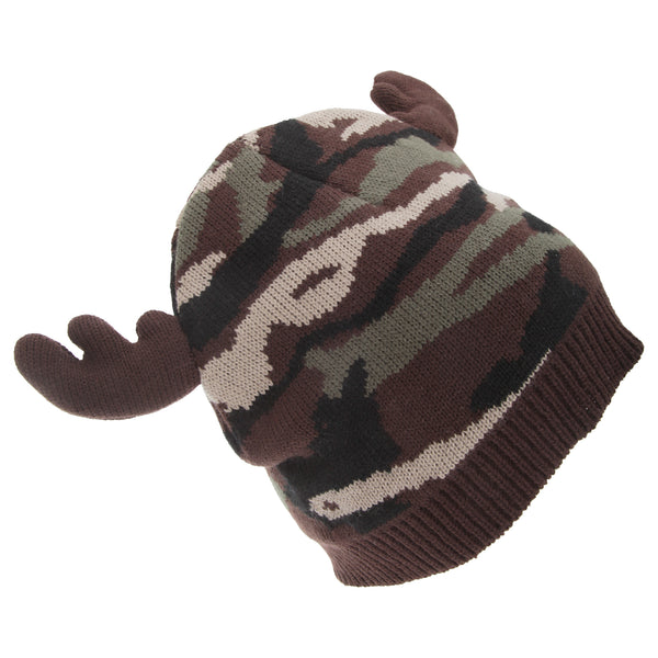 Camo - Front - FLOSO Mens Camo Pattern Winter Beanie Hat With Moose Antlers