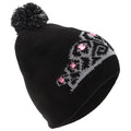 Black - Front - FLOSO Womens-Ladies Tiara Pattern Winter Beanie Bobble Hat