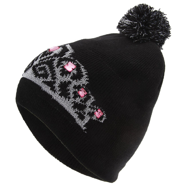 Black - Back - FLOSO Womens-Ladies Tiara Pattern Winter Beanie Bobble Hat