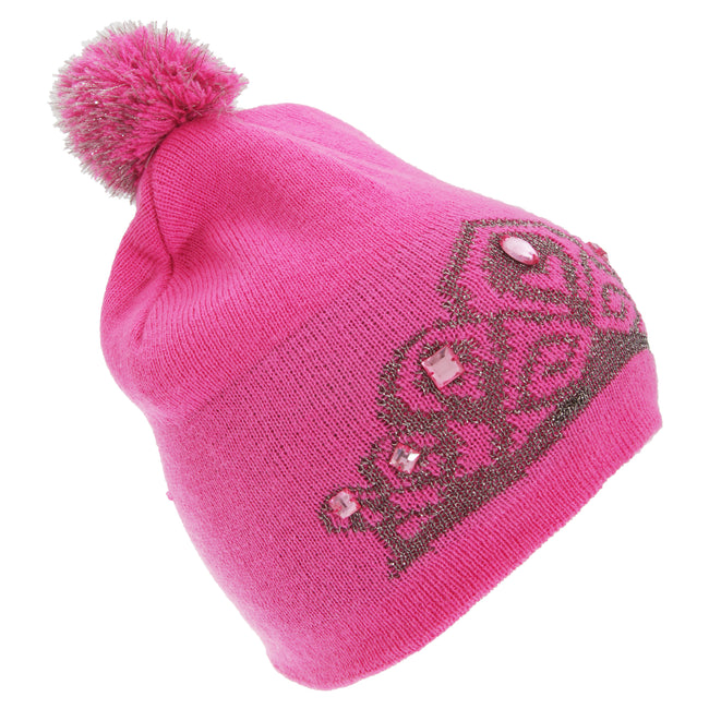 Pink - Front - FLOSO Womens-Ladies Tiara Pattern Winter Beanie Bobble Hat