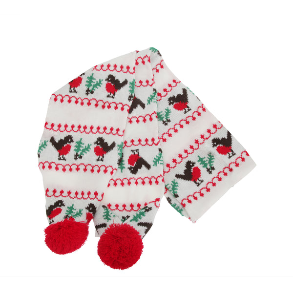 White-Red-Green-Brown - Lifestyle - FLOSO Womens-Ladies Christmas Robin Winter Hat, Scarf & Mittens Set