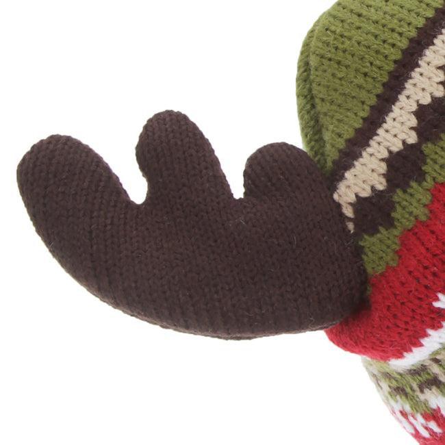 Red-Green - Back - FLOSO Childrens-Kids Fairisle Moose Winter Beanie Hat With Antlers