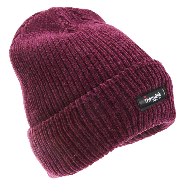Deep Pink - Front - FLOSO Womens-Ladies Thinsulate Thermal Chenille Winter Hat