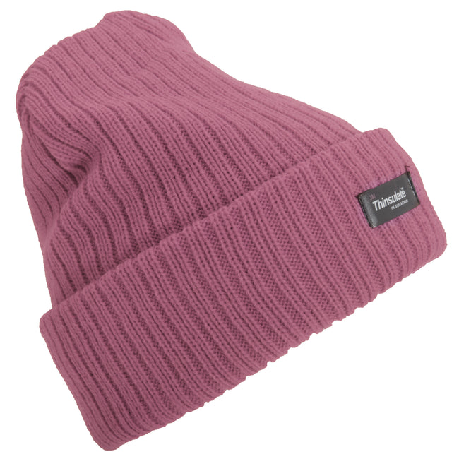 Cream - Front - Floso Womens-Ladies Rib Knit Thinsulate Winter Hat