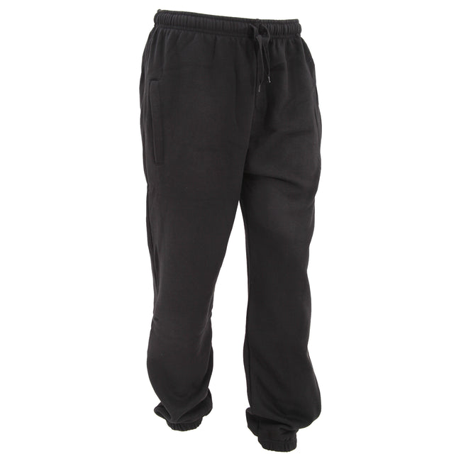 Black - Front - FLOSO Mens Elasticated Jog Pants - Jogging Bottoms (Closed Cuff)