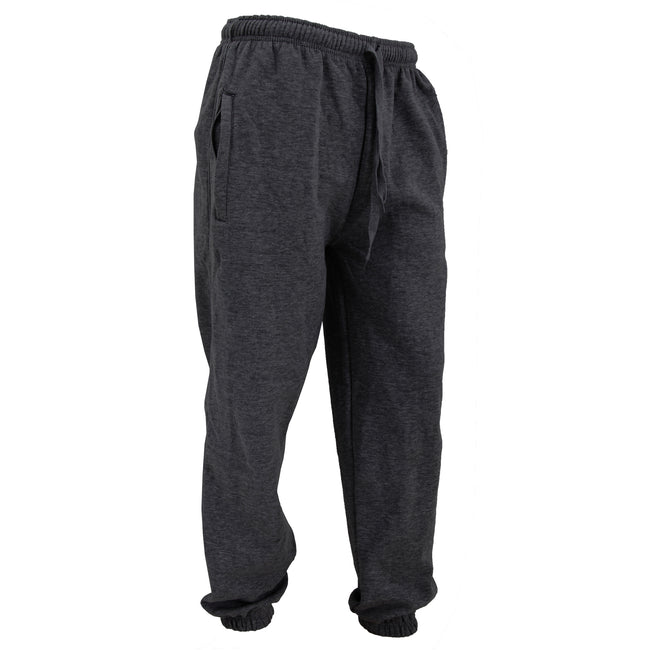 Charcoal - Front - FLOSO Mens Elasticated Jog Pants - Jogging Bottoms (Closed Cuff)