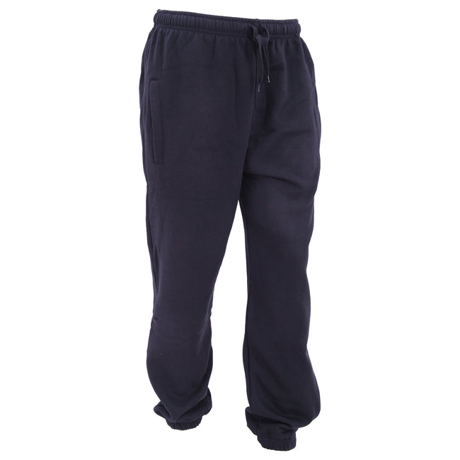 Navy - Front - FLOSO Mens Elasticated Jog Pants - Jogging Bottoms (Closed Cuff)
