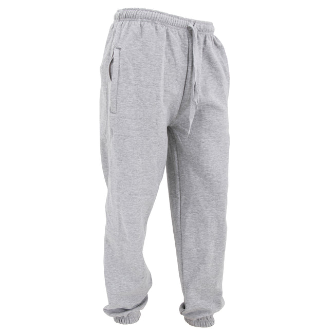 Sport Grey - Front - FLOSO Mens Elasticated Jog Pants - Jogging Bottoms (Closed Cuff)