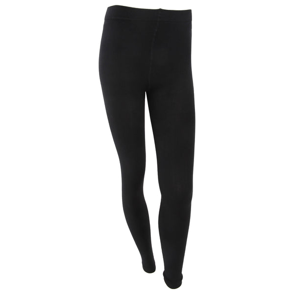 Black - Front - FLOSO Womens-Ladies Plain Thermal Leggings With Brushed Inner (0.5 Tog)