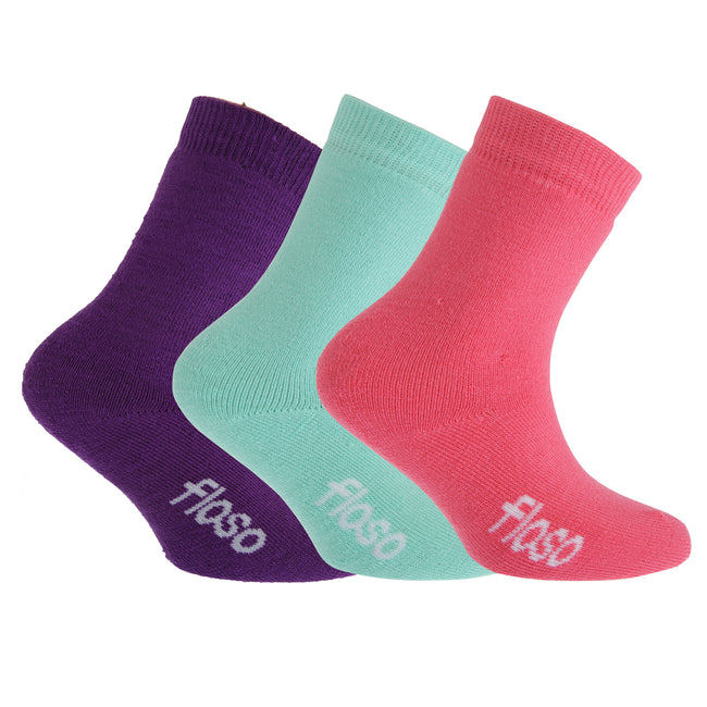 Pink-Purple-Black - Front - FLOSO Childrens Boys-Girls Winter Thermal Socks (Pack Of 3)