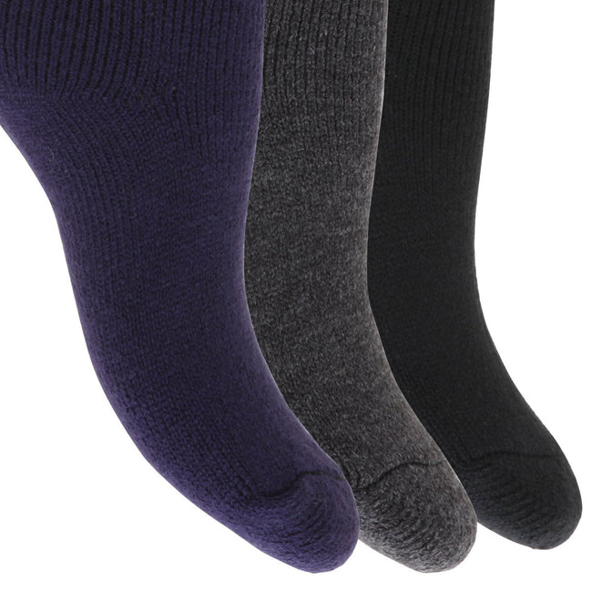 Black-Charcoal-Dark Grey - Front - FLOSO Childrens Boys-Girls Winter Thermal Socks (Pack Of 3)