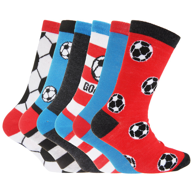Football Design - Front - FLOSO Childrens Boys Football & Stripe Pattern Casual Socks (Pack Of 6)