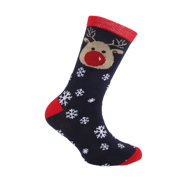 Navy-Green-Red - Side - FLOSO Childrens-Kids Christmas Character Novelty Socks (Pack Of 4)