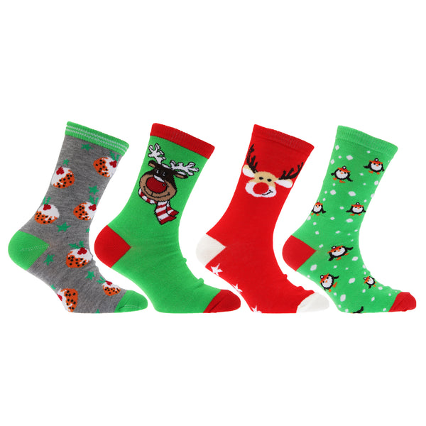Navy-Green-Red - Lifestyle - FLOSO Childrens-Kids Christmas Character Novelty Socks (Pack Of 4)