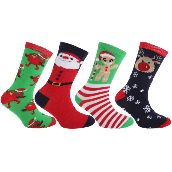 Green-Red-White-Navy - Front - FLOSO Childrens-Kids Christmas Character Novelty Socks (Pack Of 4)