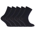 Black - Front - FLOSO Childrens-Kids Plain School Socks (Pack Of 5)