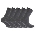 Grey - Front - FLOSO Childrens-Kids Plain School Socks (Pack Of 5)