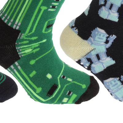 Red-Navy - Front - FLOSO Childrens-Kids Retro Gripper Socks (3 Pairs)