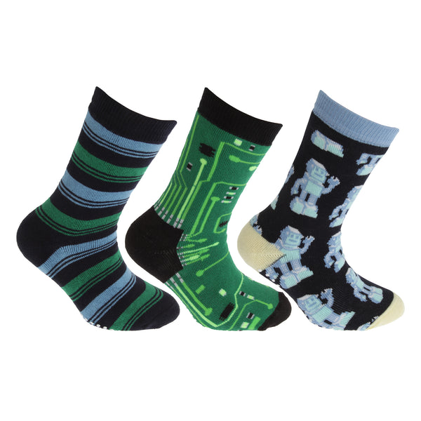 Green-Navy - Front - FLOSO Childrens-Kids Retro Gripper Socks (3 Pairs)
