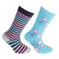 Cream-Pink - Front - FLOSO Childrens-Kids Cotton Rich Welly Socks (2 Pairs)