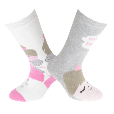 Cream-Pink - Back - FLOSO Childrens-Kids Cotton Rich Welly Socks (2 Pairs)