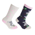 Navy-Beige - Front - FLOSO Childrens-Kids Cotton Rich Welly Socks (2 Pairs)