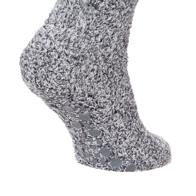 Grey - Side - FLOSO Kids Warm Slipper Socks With Rubber Non Slip Grip