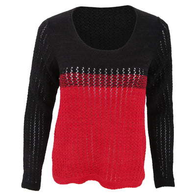 Black-Red - Front - FLOSO Womens-Ladies Deauville Two Tone Knitted Jumper (British Made)