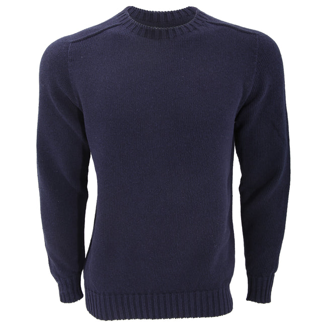 Navy - Front - FLOSO Unisex Cotton Rich Plain Knitted Jumper (British Made)