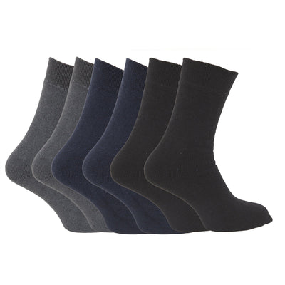 Dark Assorted - Back - FLOSO Mens Premium Quality Multipack 1.9 Tog Thermal Socks (Pack Of 6)