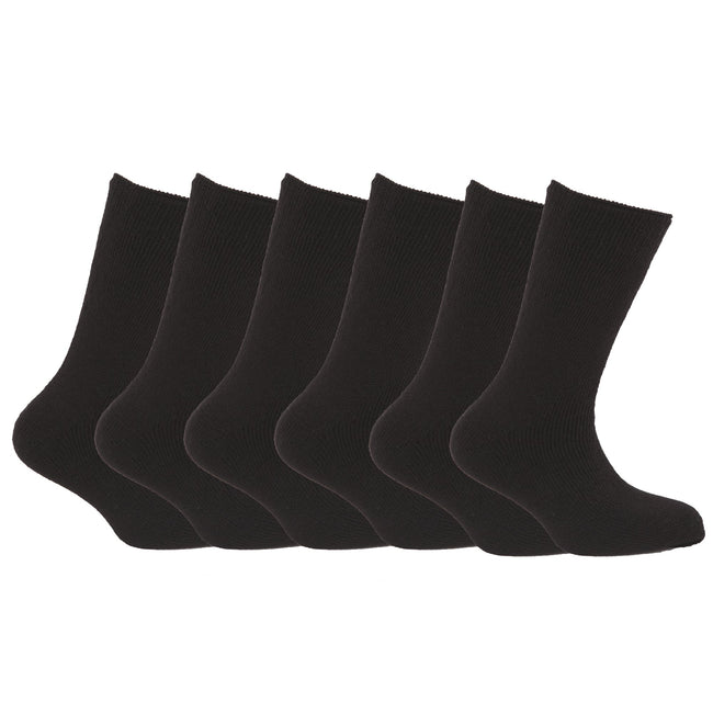 Black - Front - FLOSO Mens Premium Quality Multipack 1.9 Tog Thermal Socks (Pack Of 6)