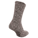Brown - Front - FLOSO Mens Warm Slipper Socks With Rubber Non Slip Grip