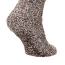 Brown - Back - FLOSO Mens Warm Slipper Socks With Rubber Non Slip Grip