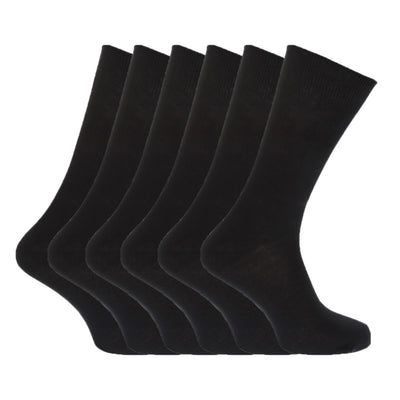 Shades of Grey - Front - FLOSO Mens Plain 100% Cotton Socks (Pack Of 6)