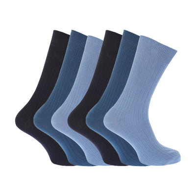 Shades of Brown - Front - FLOSO Mens Ribbed 100% Cotton Socks (Pack Of 6)