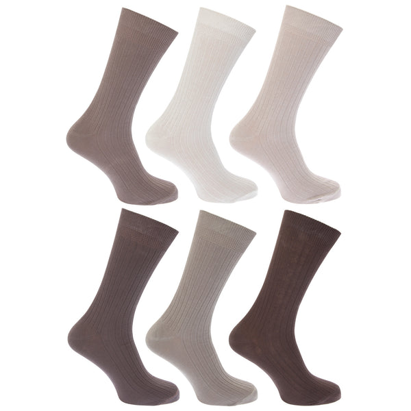 White - Front - FLOSO Mens Ribbed 100% Cotton Socks (Pack Of 6)