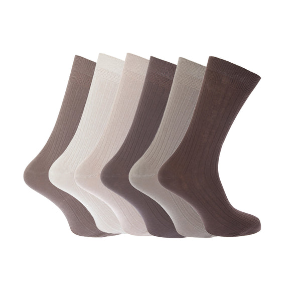 Black - Front - FLOSO Mens Ribbed 100% Cotton Socks (Pack Of 6)