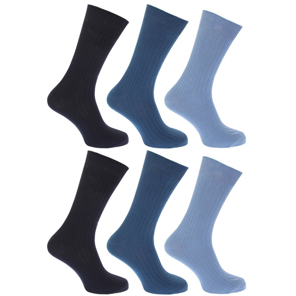 Shades of Blue - Front - FLOSO Mens Ribbed 100% Cotton Socks (Pack Of 6)