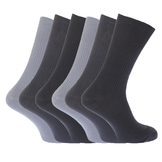 Shades of Brown - Front - FLOSO Mens Ribbed Non Elastic Top 100% Cotton Socks (Pack Of 6)