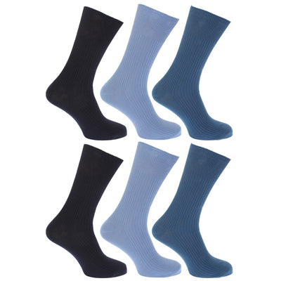 White - Front - FLOSO Mens Ribbed Non Elastic Top 100% Cotton Socks (Pack Of 6)