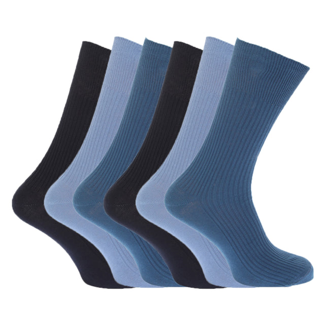 Black - Front - FLOSO Mens Ribbed Non Elastic Top 100% Cotton Socks (Pack Of 6)