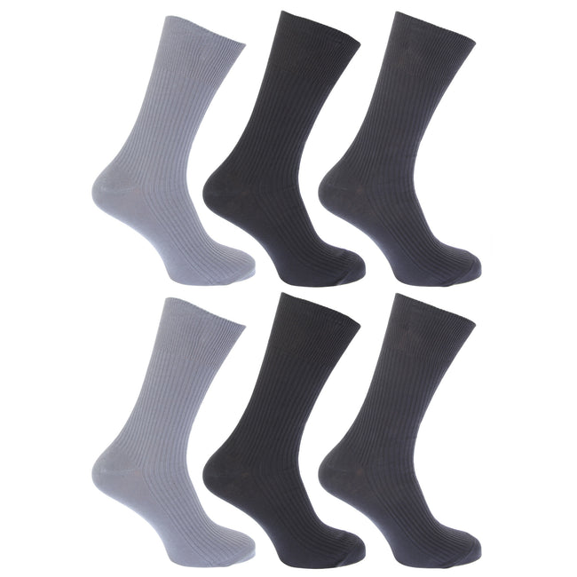 Shades of Grey - Front - FLOSO Mens Ribbed Non Elastic Top 100% Cotton Socks (Pack Of 6)