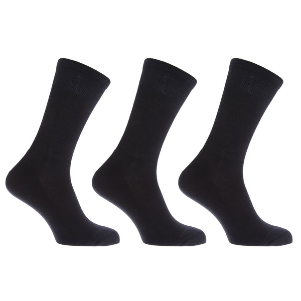 Black - Front - FLOSO Mens Premium Quality Cotton Rich Cushion Sole Socks (Pack Of 3)
