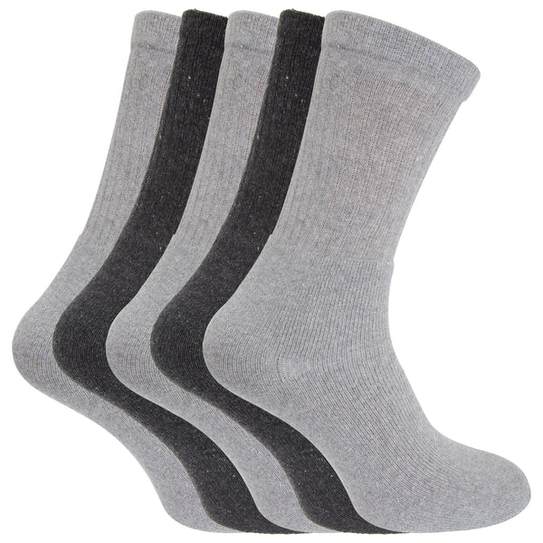 Grey-Charcoal - Front - FLOSO® Mens Plain Cotton Rich Sport Socks (Pack Of 5)