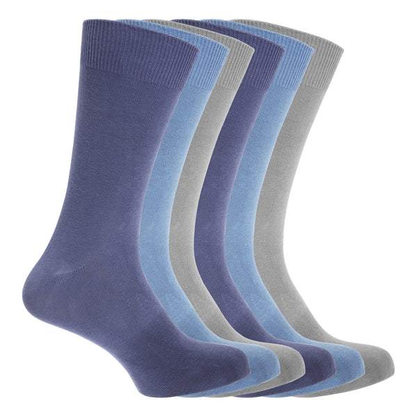 Navy-Blue-Grey - Front - FLOSO Mens Cotton Mix Lycra Socks (Pack Of 6)