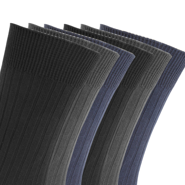 Navy-Blue-Grey - Front - FLOSO Mens Ribbed 100% Cotton Socks (6 Pairs)