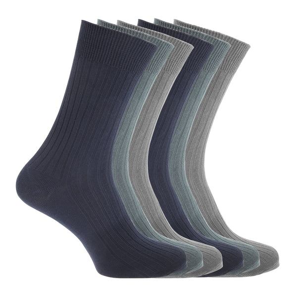 Black - Front - FLOSO Mens Ribbed 100% Cotton Socks (6 Pairs)