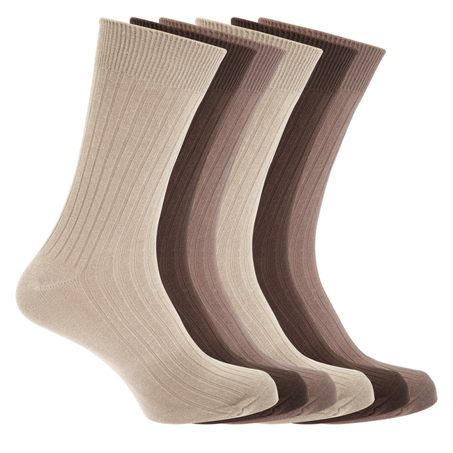 Dark Brown-Light Brown-Beige - Front - FLOSO Mens Ribbed 100% Cotton Socks (6 Pairs)