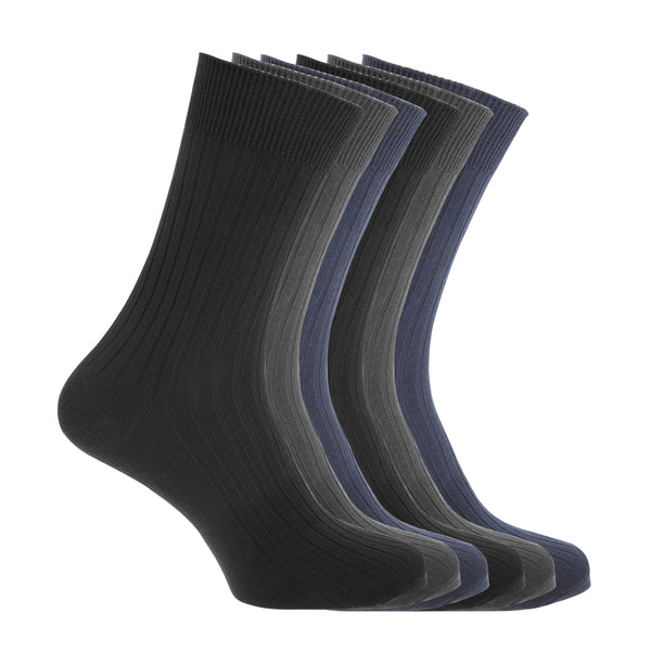 Black-Navy-Charcoal - Front - FLOSO Mens Ribbed 100% Cotton Socks (6 Pairs)